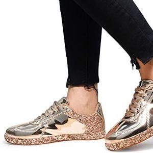 NWT Metallic Iridescent Gold Glitter Sneakers 7